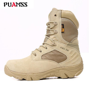 Brand Leather Men Boots Top Quality Boots Breathable Durable Men Camouflage Rubber Mid-calf Boots