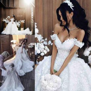 Gorgeous Off The Shoulder Vestido de fiesta Vestidos de novia Flora Encaje Apliques Corte de tren Vestidos de novia Vestidos de boda a la medida de Arabia Saudí