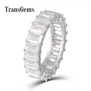 Transgems Изумруд Enternity обручальное кольцо 18k белое золото 3X5MM FG цвет Изумруд резки Moissanite Алмаз обручальное кольцо для женщин S923