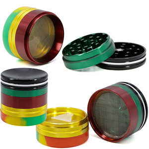 63mm Herb Öğütücü Renkli 5 Parçaları Alaşım Içbükey Silikon Bottome Kapak Tütün Değirmenleri Sigara Öğütücü Duman Aksesuarları WX9-1015