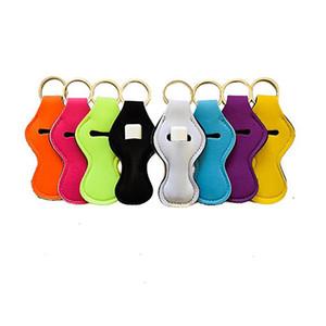 Llavero Lápiz labial Llaveros Holder Espacios de neopreno Color sólido Suave Aceite esencial Roller Bottles Case Lady Lip Palm Holder Accesorio
