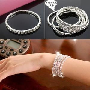 Barato nas fileiras Stock pulseira de jóias 1 Tennis Bracelet nupcial elegante estiramento Bangle da festa de casamento do baile bonito Prom Prata Pedrinhas