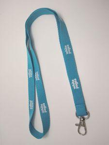 Nuevo diseño personalizado personalizado Lanyard Dhl 100 piezas amarillo y azul fútbol poliéster cordón