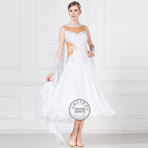 International Standard Ballroom Smooth Dance Dress, / Ballroom Tango Waltz Dance Dress blanco 16442