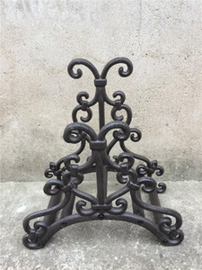 Ferro Forjado Mangueira rack Titular Scrowl Garden Outdoor decorativa Mangueira Reel Hanger Cast Iron antigo Rust Wall Mount Decoração de Metal Craft