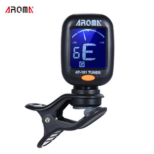 AROMA AT-101 Mini Clip-on Digital Guitar Tuner con Clip Giratório de Alta Sensibilidade para Chromatic Guitarra Baixo Violino Ukulele