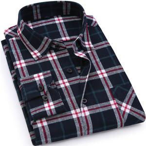 Neue Männer Flanell Kariertes Hemd Baumwolle Frühling Herbst Beiläufiges Langarmhemd Weicher Komfort Slim Fit Styles Marke Mann Kleidung Heißer Verkauf