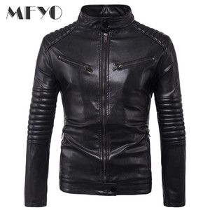 New Motorcycle Male PU Leather Jackets PU Casual Stand Collar Slim Fit Lether Inverno Couro Mens Stand Collar Jacket 5XL