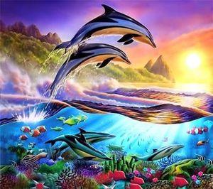 100% rodada diy 3d diamond mosaic animal golfinho handmade diamante pintura kits de ponto cruz diamante bordado padrões strass