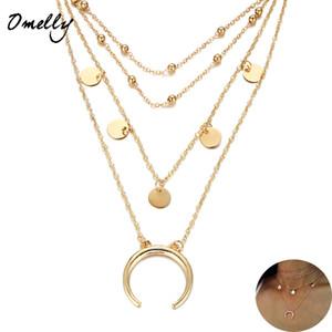 Diseñador chapado en oro del grano Collar de moda Chockers Joyería 4 capas Mutil-capas del encanto de la luna Collar de la joyería del partido regalo de Navidad a granel
