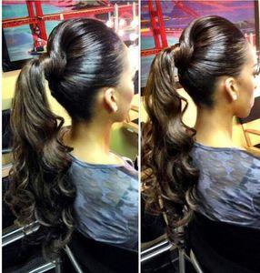 Classico onda del corpo coda di cavallo capelli umani brasiliano parrucchino clip in estensione coda di cavallo capelli umani 140g coulisse coda di cavallo marrone scuro