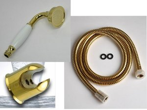 New PVD-TI Gold BrassCeramics Telephone Soffione a mano tradizionale con supporto in lega di zinco 1.5m Tubo flessibile in acciaio inossidabile