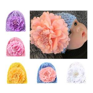 Bambino Ragazza Inverno Big Flower Turban Hat Knit Wool Hollow Headband Warm Woolen Crochet Headwear Head Wrap Hairbands Accessori