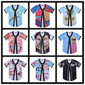 Hip-hop Street Short Cardigan BF Loose Large Size Baseball Suit Couple Dance Punk Half Sleeve Print Cartoon Cardigan