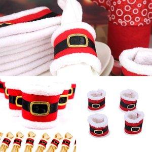 Christmas Dress Tovagliolo di Natale Santa Claus Cintura Fibbia Anelli di tovagliolo Articoli per la tavola di Natale Home Decoration