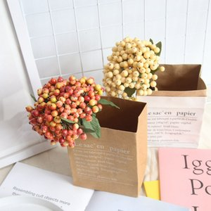 2018 sıcak satış 10 adet Yapay Çiçekler Stamens Kırmızı meyveleri kiraz Sahte Pürüzsüz Köpük Meyve Düğün Noel Dekorasyon için