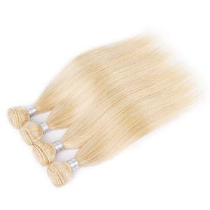 Melhor venda Silk brasileira Hetero Cabelo Humano Pacotes Weave 3 PCS Lot Loiro completa 613 cores Remy Hair Extensions 10-26Inch