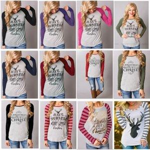 Mulheres Natal S-3XL T-shirt de algodão estampado Elk rena Top T-shirt Para listrada manga comprida camisola Blusa Saias HH7-1812 pulôver