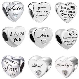 2018 yeni ücretsiz kargo avrupa 1 adet 925 gümüş kalp seni seviyorum nan anne kardeş baba diy boncuk fit pandora charm bilezik D044