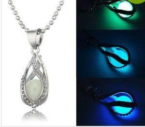 Noctilucence colares hollowed out espiral gota em forma de brilho colar de dia das bruxas diy aberto jóias presentes de aniversário da festa de natal 505