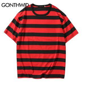 GONTHWID Casual Coton Rayé T-shirts Hip Hop Harajuku Rayé À Manches Courtes T Shirts Streetwear Tops Tees Rouge Noir Jaune