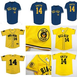 لعبة البيسبول جيرسي سوف سميث 14 # البيسبول جيرسي bel-air أكاديمية التطريز مخيط الأمير الطازج الأصفر جودة عالية شحن مجاني