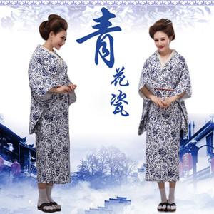 Asia Pacific Islands Ropa vintage tradicional japonés Yukata nuevo diseño azul y blanco porcelana estilo japonés kimonos