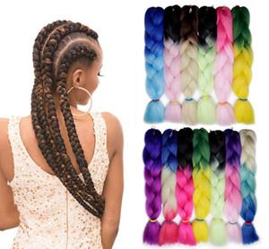 Synthetic Jumbo colorido de seda Vertentes Ombre Kanekalon trança Crochet extensões do cabelo Cabelo Louro Jumbo tranças Penteados
