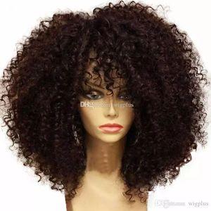 En iyi kalite Kısa Kıvırcık peruk Sentetik Ladys 'Saç Peruk Kısa kıvırcık siyah kadın için Afrika Amerikan sentetik dantel ön Peruk