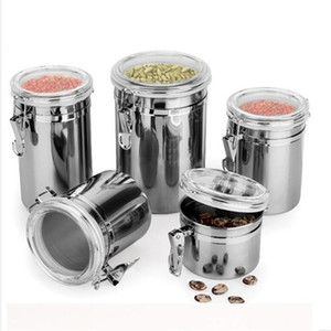 Stainless Steel Coffee Food Canister Cases Flour Sugar Container Holder Cans Pots with Plastic Lid Cover