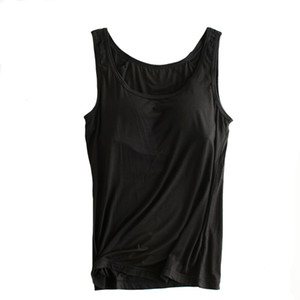 Moda Mujer Sujetador incorporado Camiseta sin mangas acolchada Modal femenino Transpirable Fitness Camisole Tops Sólido Push Up Bra Chaleco Blusas Femininas