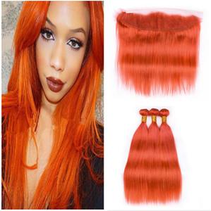 Orange Dentelle Frontal Avec Bundles Pérou Cheveux Vierge soie droite Bundles cheveux avec 13x4 Dentelle Frontal orange Cheveux Tissages 4pcs / Lot