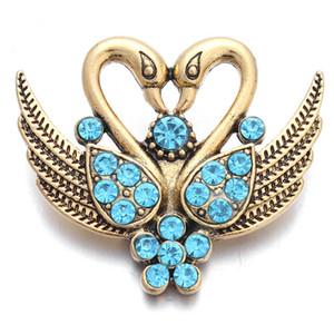 Neue Ankunft Noosa 18 MM Druckknöpfe Charms Swan Muster Fit Snap Armbänder Halskette Ring Ohrring Ingwer Druckknopf