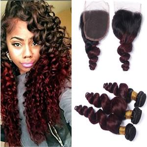 Vin Rouge Ombre Vierge Brésilienne Lâche Vague de Cheveux Humains Offres 3Pcs avec Fermeture 1B / 99J Bourgogne Ombre 4x4 Dentelle de Fermeture avec Weaves