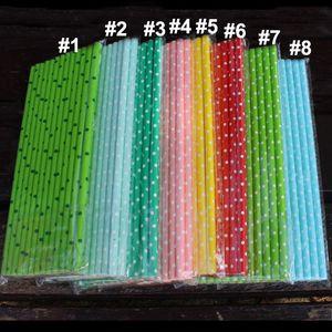 19.7 cm de burbujas desechables Rainbow Drinking Paper Straws Dot medio ambiente Kraft Paper Straw para Bar Birthday Wedding Party FWX9-697