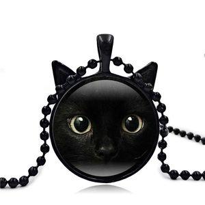 Siyah Kedi Yüz Zaman Jewel Kolye Bu Kolye Kolye Kazak Zincir Takı