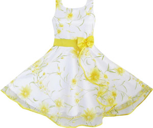 Sunny Fashion 3 Layers Girls Dress Sunflower Wave Pageant Bridesmaid Kids Clothing 2016 Summer Princess Wedding Party Size 4-12