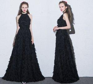 Sexy Langarm-formale Abend-Kleider 2020 Schwarz Weiß Kleine Rundhalsausschnitt-Rückseiten-Reißverschluss Spezielle Stoff-Abschlussball-Partei-Kleider HY076