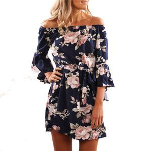 Moda Sexy donne Bohemiah Dress 2018 Estate Sexy Off spalla stampa floreale Chiffon Dress Boho Style Party abiti da spiaggia