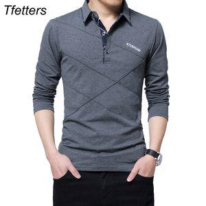 Tfetters Marke T Shirt Männer Lange TShirt Drehen-Down Stripe Designer T-Shirt Slim Fit Lose Beiläufige Baumwolle T-shirt Männlich Plus Größe