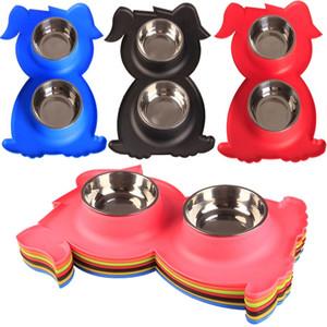 Dog Bowls Edelstahl Dog Bowl mit Welpen-Form Kein Spill Rutschfeste Silikonmatte Feeder Bowls Pet Bowl für Hunde Katzen und Haustiere