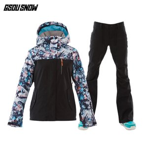 GSOU SNOW  Ski Suit Women Ski Jackets Pants Snowboard Sets Winter Mountain Skiing Suits Female Snowboard Jackets Snow Pants