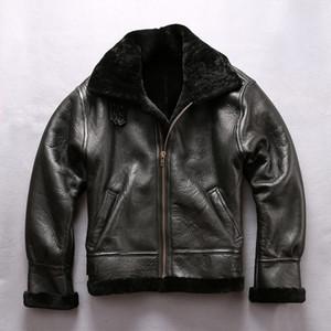 AVIREXFLY овчины кожаная куртка с мехом B3 ВВС полета костюм отворотом шеи Winer пальто YKK молния