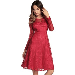Women's 2018 Spring Summer's New style Fashion Lace Dress Long sleeve Sexy A-line Dress elegant Cocktail party Dress 4color S-2XL