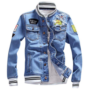 2018 New Autumn Demin Jacket Patch Disegni Moda Uomo Inverno Denim Jacket Uomo Moda Streetwear Jeans