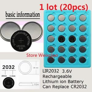 20 قطع 1 وحدة LIR2032 3.6 فولت بطارية ليثيوم أيون قابلة خلية زر 2032 3.6 فولت بطاريات ليثيوم أيون عملة استبدال CR2032 مجانية
