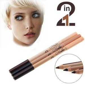 12 pcs / lot maquiagem 2 en 1 sourcils ménovants maquillage double fonction sourcils crayons de cadavre crayons super couverture maquillaje