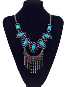 High quality new style fashionable national style colorful turquoise crystal rose tassel collarbone necklace