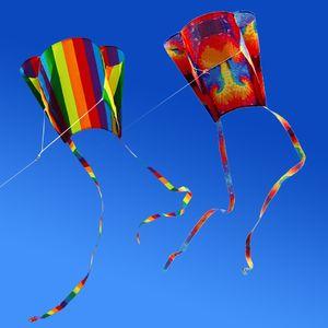 New Colorful Parafoil Kite with 200cm Tails 30m Flying Line Outdoor Soft Fly Kite Giocattoli per bambini ragazze ragazzi regalo strumento esterno shippi gratuito