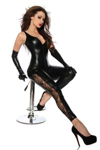 Caliente Sexy Catwomen Faux Leather Latex Zentai Catsuit Smooth Wetlook Mono Cremallera frontal Elástico Negro PU Body completo Mono corto